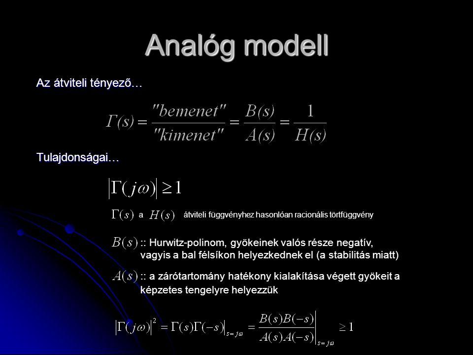 Analóg modell Az átviteli tényező… Tulajdonságai…