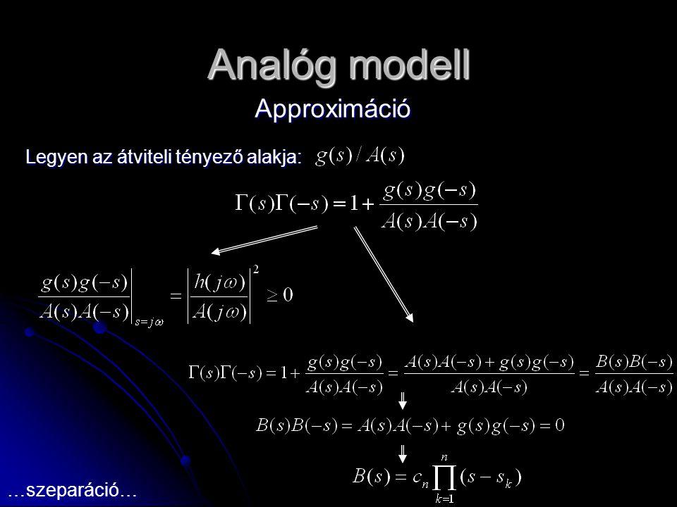 Analóg modell Approximáció Legyen az átviteli tényező alakja: