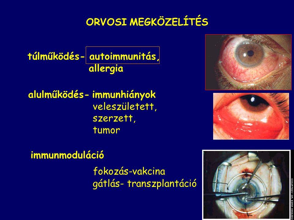 ORVOSI MEGKÖZELÍTÉS túlműködés- autoimmunitás, allergia. alulműködés- immunhiányok. veleszületett,