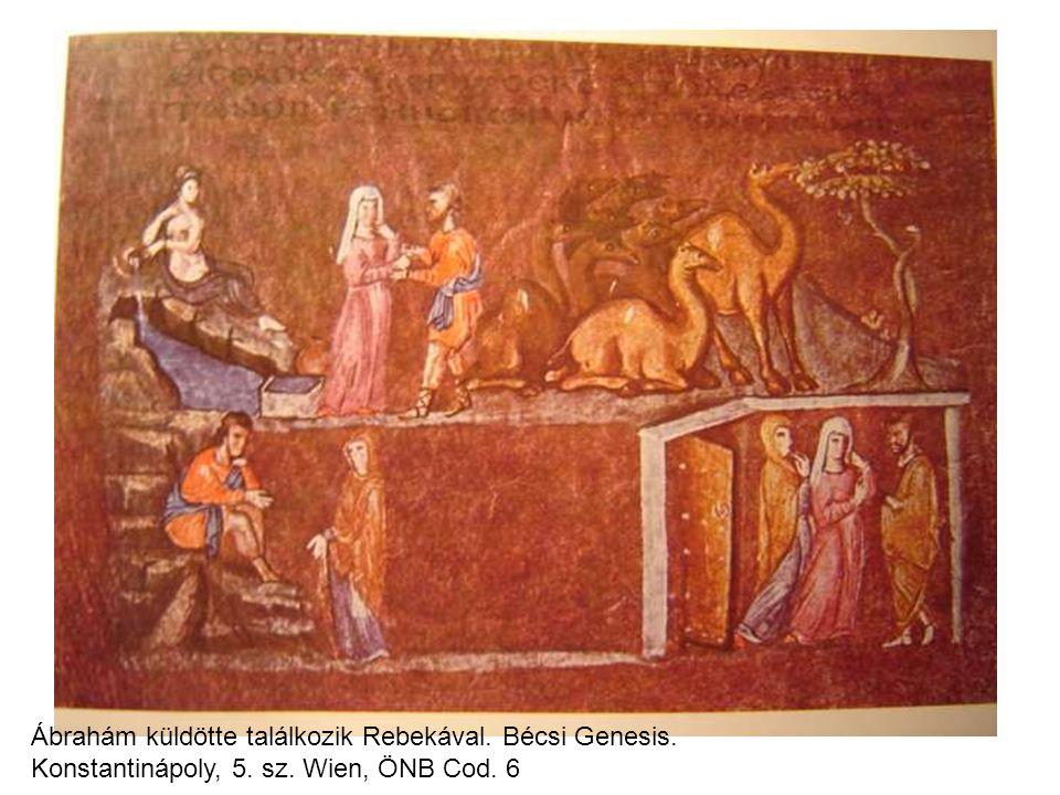 Ábrahám küldötte találkozik Rebekával. Bécsi Genesis