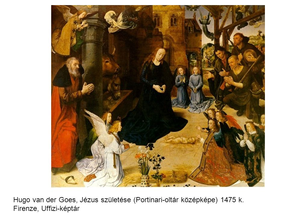 Hugo van der Goes, Jézus születése (Portinari-oltár középképe) 1475 k