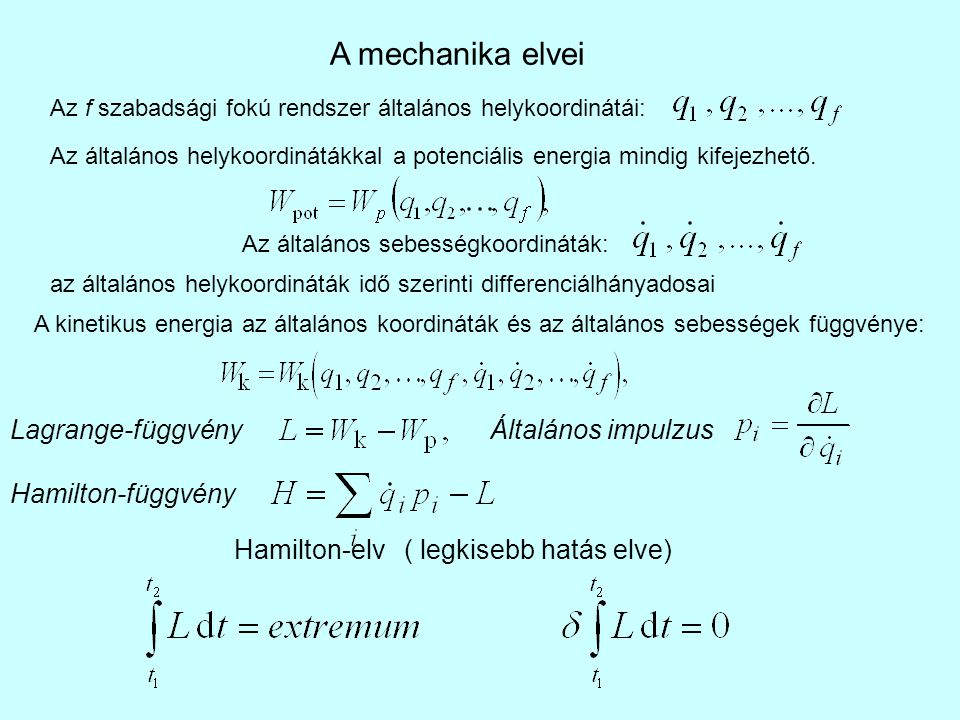 A mechanika elvei Lagrange-függvény Általános impulzus