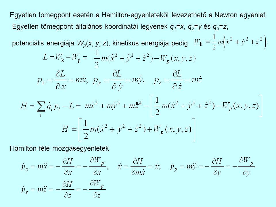 Egyetlen tömegpont esetén a Hamilton-egyenletekől levezethető a Newton egyenlet