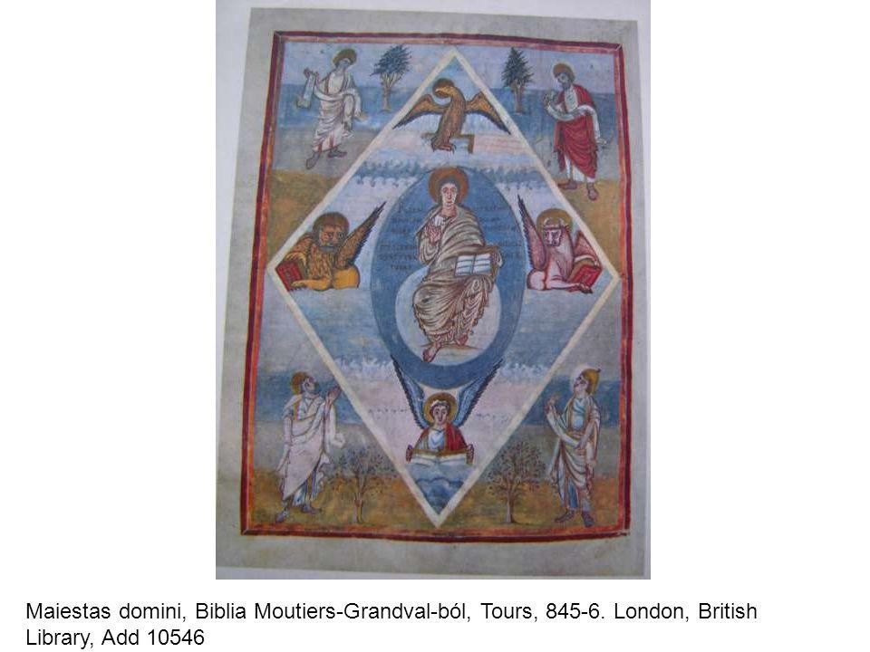 Maiestas domini, Biblia Moutiers-Grandval-ból, Tours, 845-6