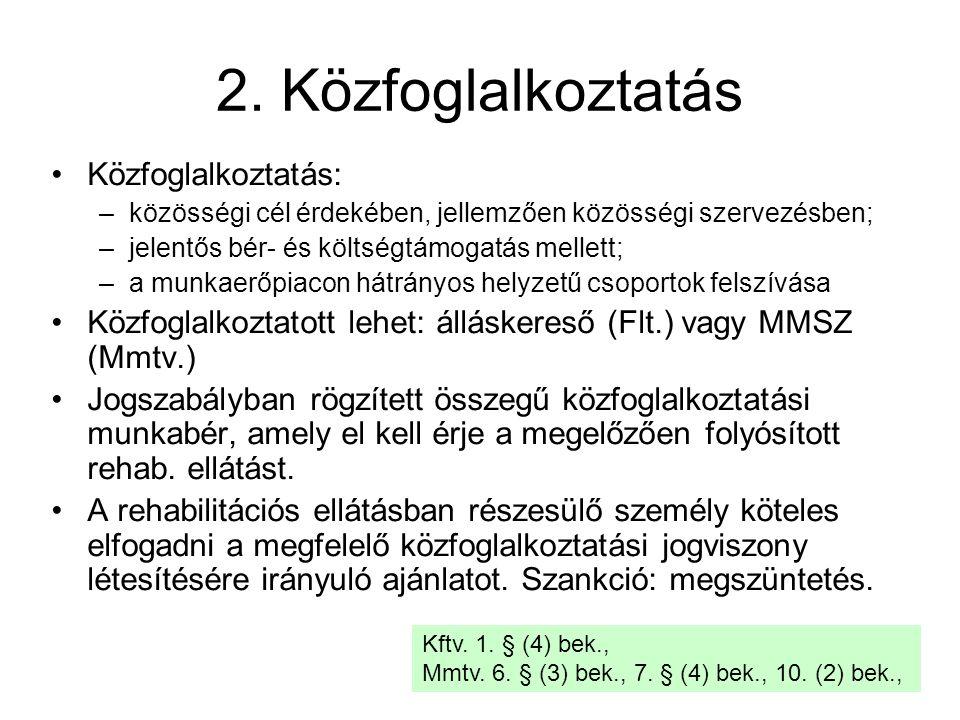 2. Közfoglalkoztatás Közfoglalkoztatás: