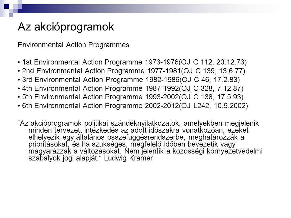 Az akcióprogramok Environmental Action Programmes