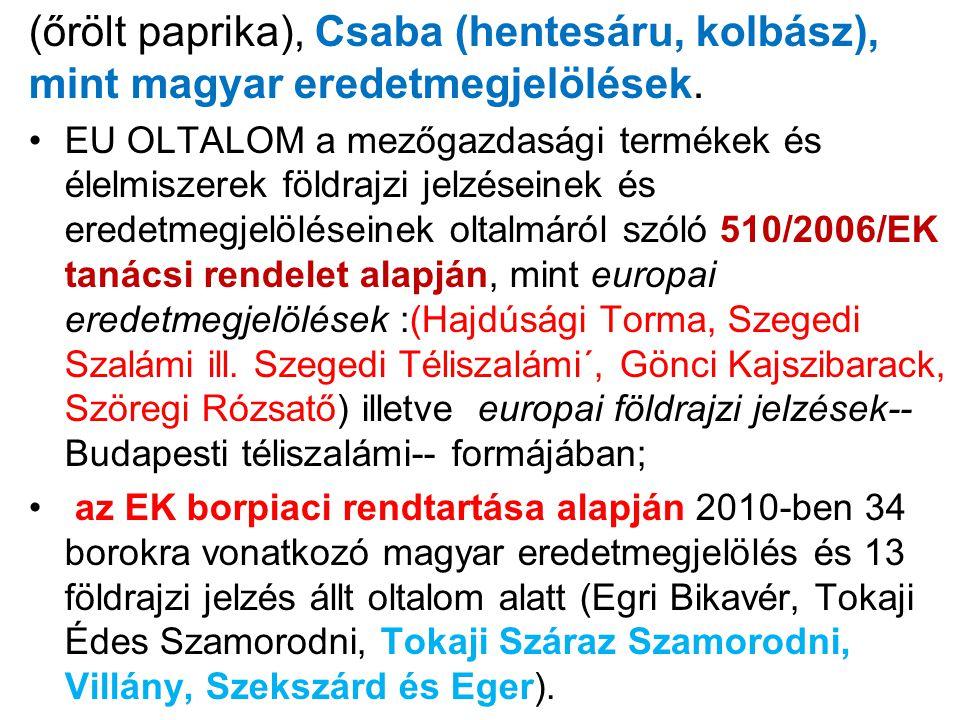 (őrölt paprika), Csaba (hentesáru, kolbász), mint magyar eredetmegjelölések.