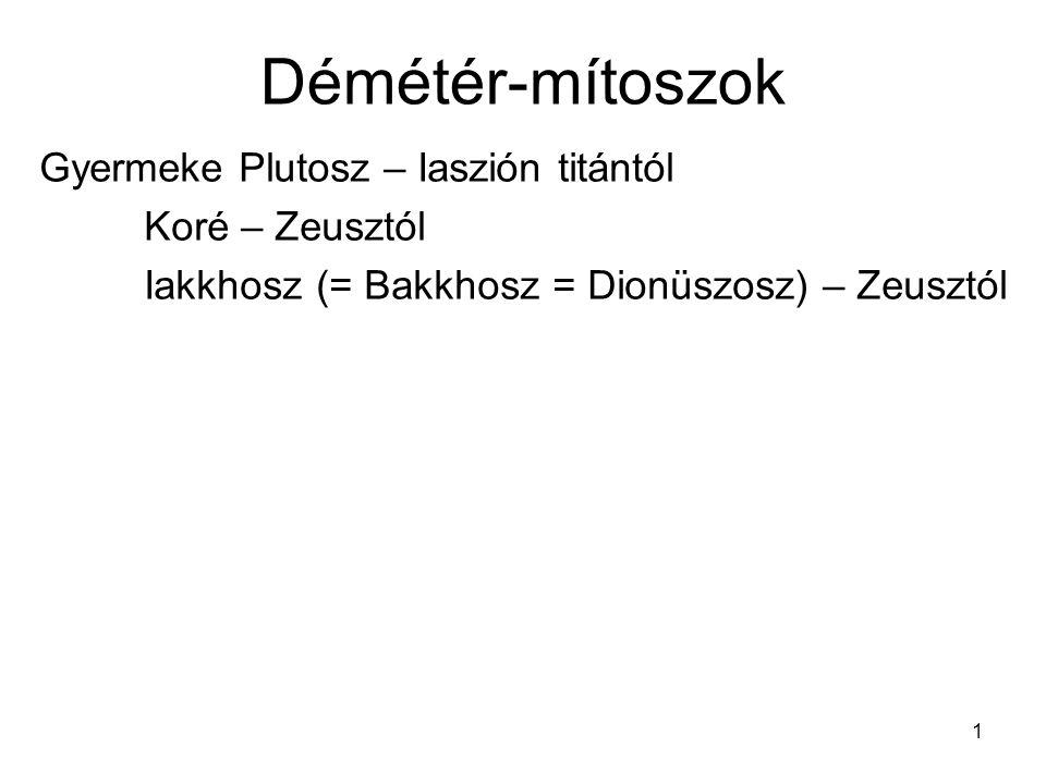 Démétér-mítoszok Gyermeke Plutosz – Iaszión titántól Koré – Zeusztól