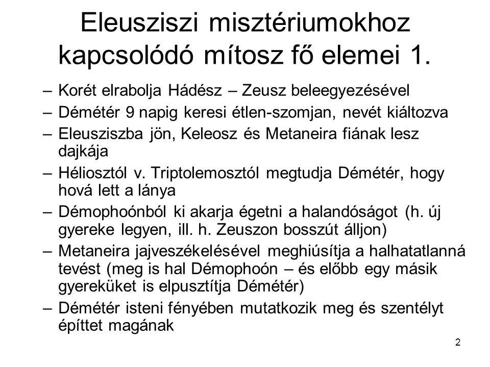 Eleusziszi misztériumokhoz kapcsolódó mítosz fő elemei 1.