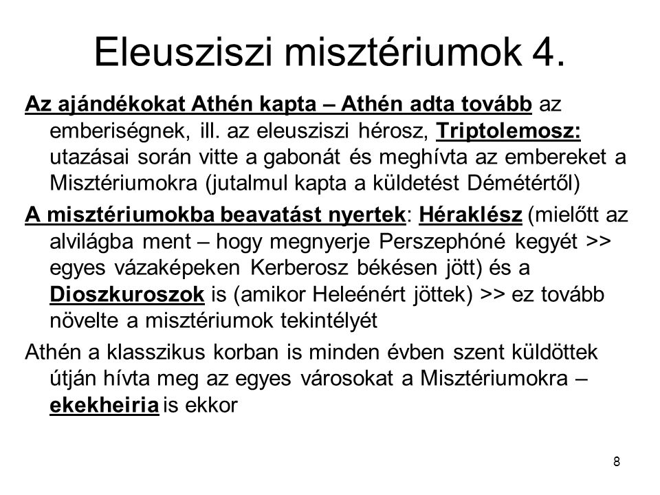 Eleusziszi misztériumok 4.