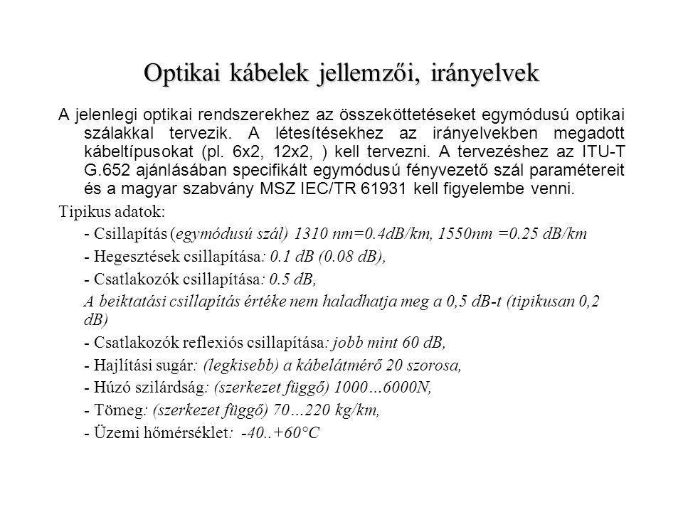 Optikai kábelek jellemzői, irányelvek