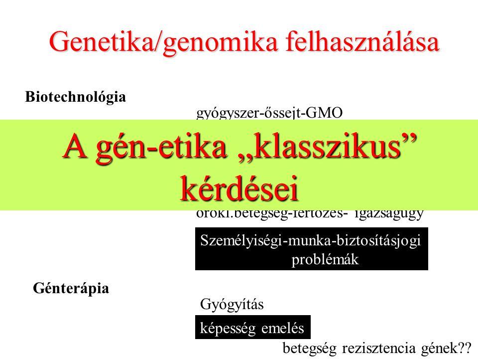 """A gén-etika """"klasszikus kérdései"""