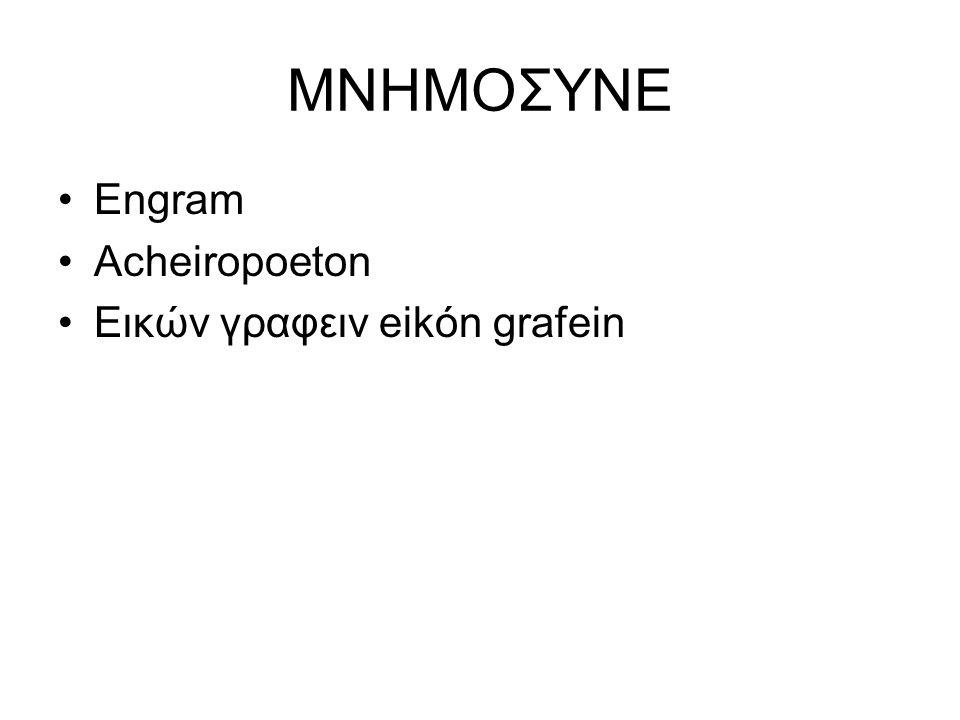 MNHMOΣYNE Engram Acheiropoeton Εικών γραφειν eikón grafein