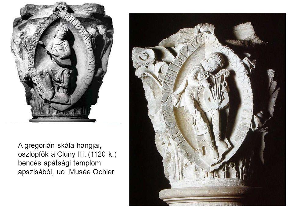 A gregorián skála hangjai, oszlopfők a Cluny III. (1120 k