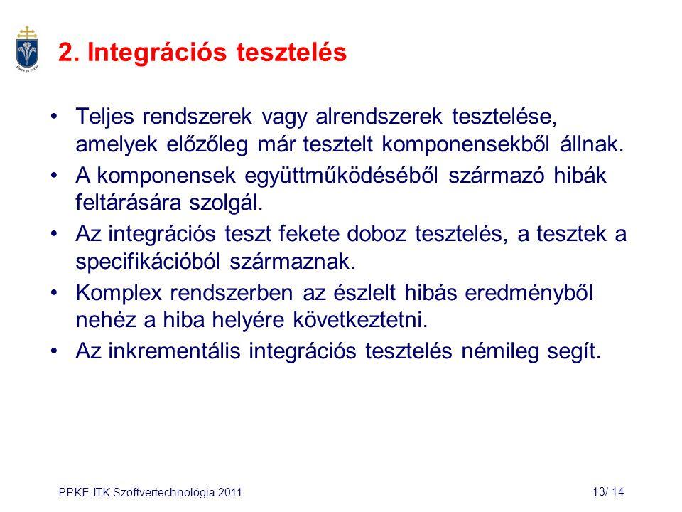 2. Integrációs tesztelés