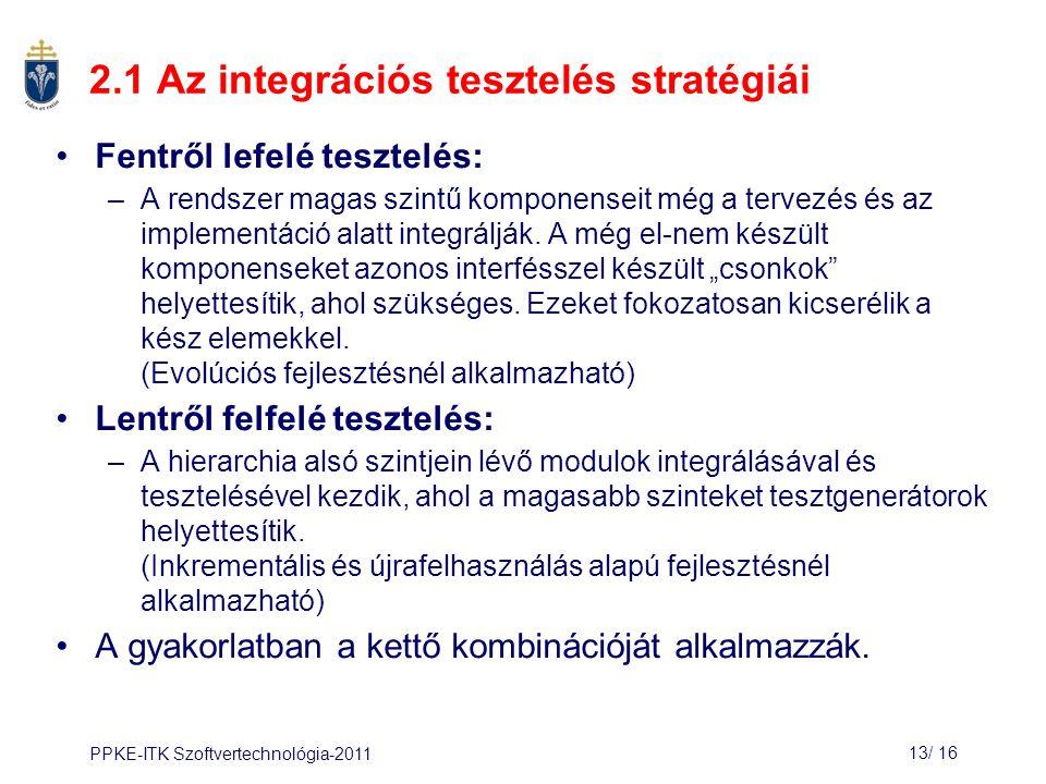 2.1 Az integrációs tesztelés stratégiái
