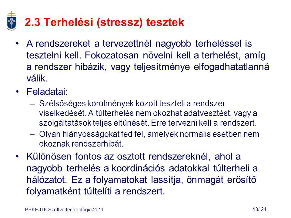 2.3 Terhelési (stressz) tesztek