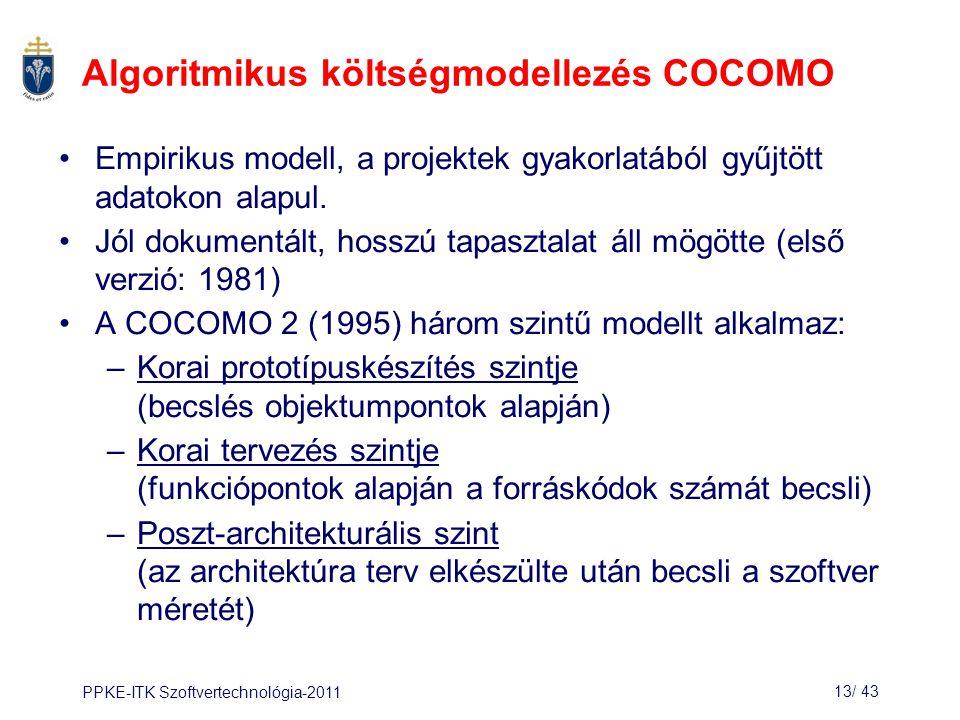 Algoritmikus költségmodellezés COCOMO