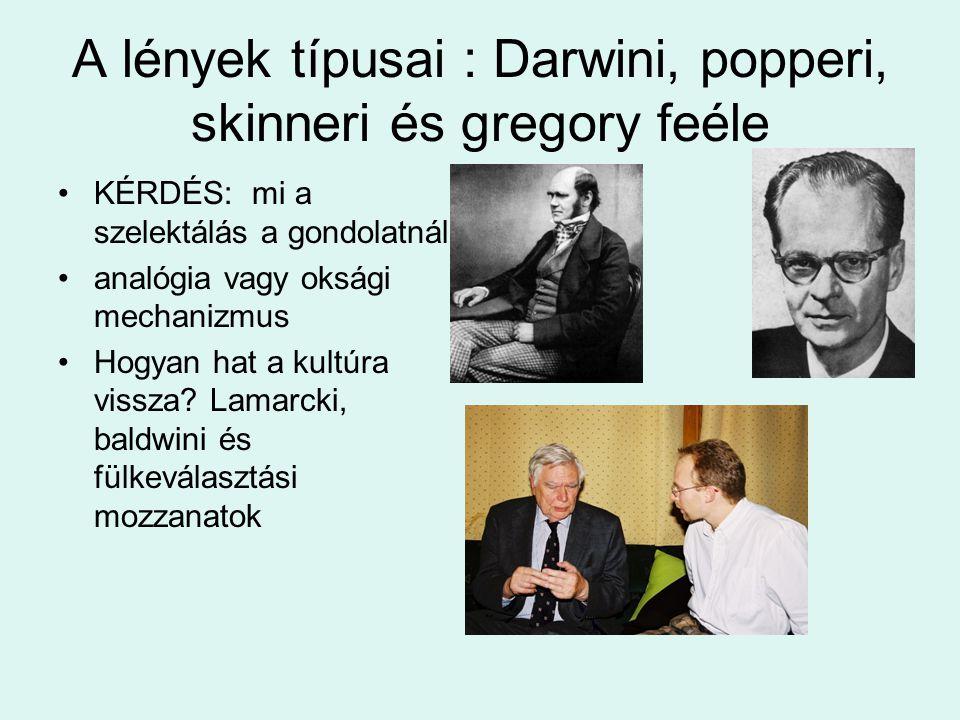 A lények típusai : Darwini, popperi, skinneri és gregory feéle