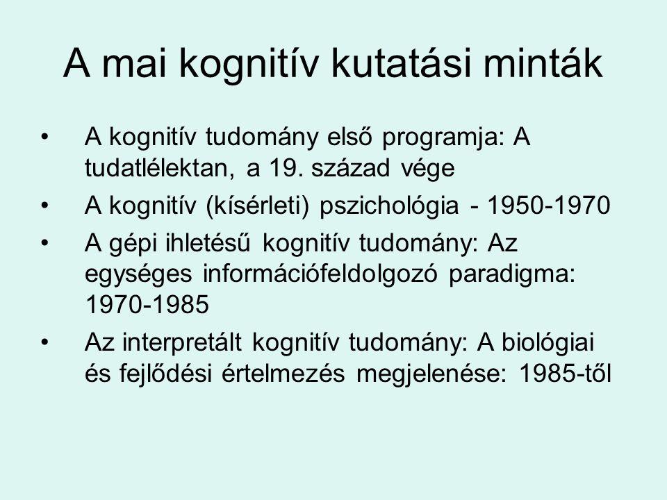 A mai kognitív kutatási minták