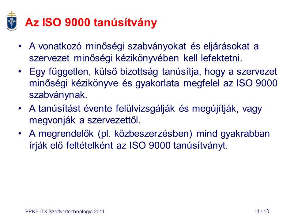Az ISO 9000 tanúsítvány A vonatkozó minőségi szabványokat és eljárásokat a szervezet minőségi kézikönyvében kell lefektetni.