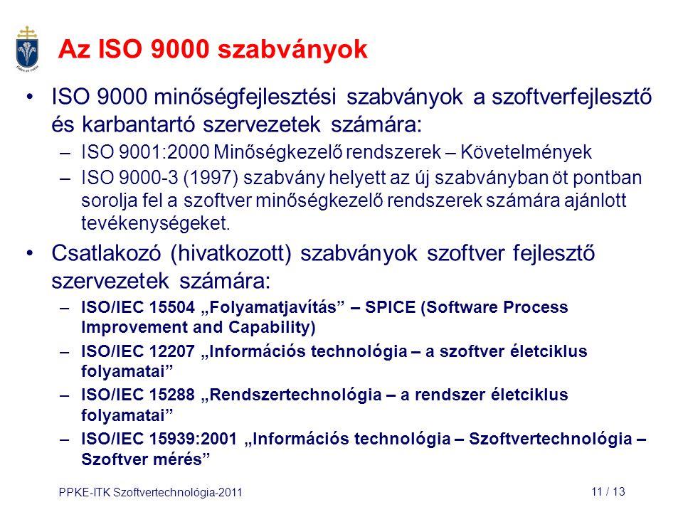 Az ISO 9000 szabványok ISO 9000 minőségfejlesztési szabványok a szoftverfejlesztő és karbantartó szervezetek számára: