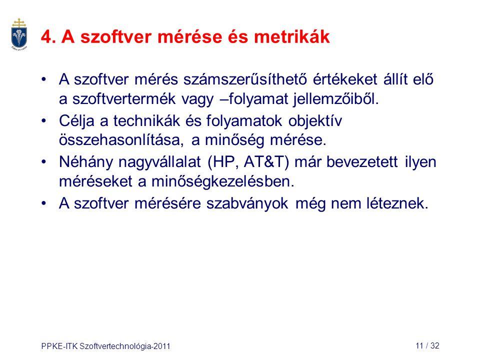 4. A szoftver mérése és metrikák