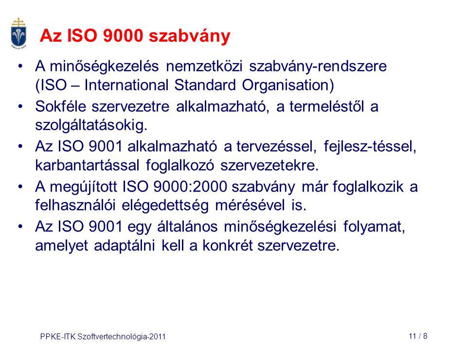 Az ISO 9000 szabvány A minőségkezelés nemzetközi szabvány-rendszere (ISO – International Standard Organisation)