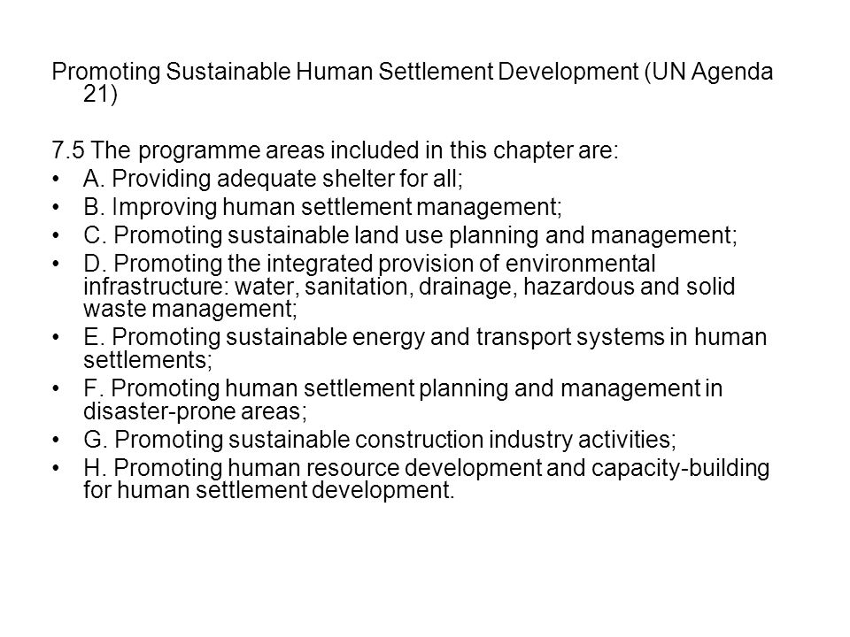 Promoting Sustainable Human Settlement Development (UN Agenda 21)