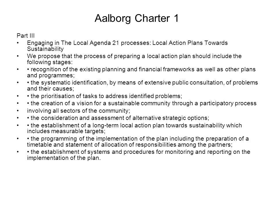 Aalborg Charter 1 Part III