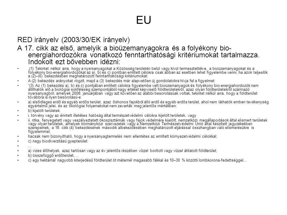 EU RED irányelv (2003/30/EK irányelv)