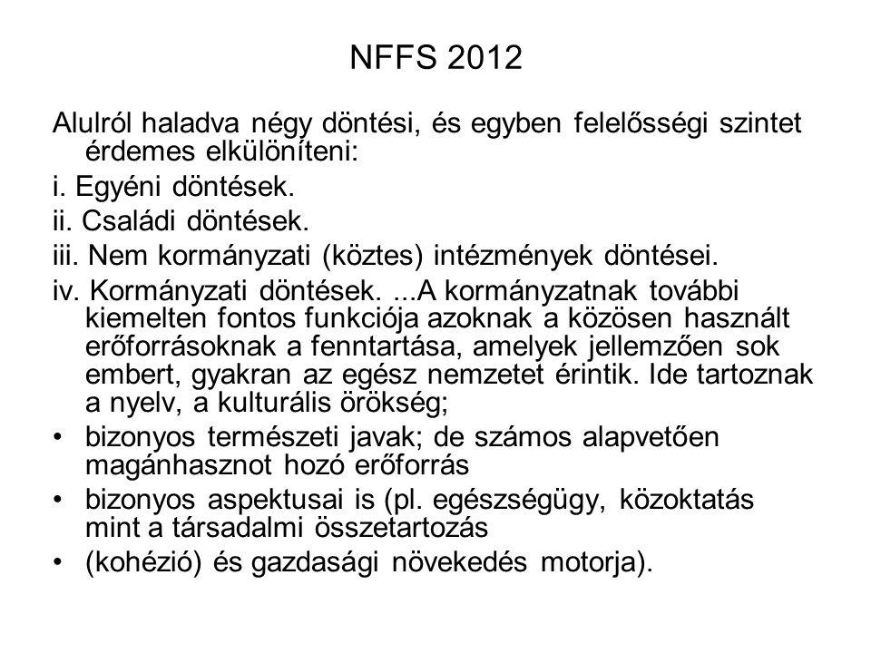 NFFS 2012 Alulról haladva négy döntési, és egyben felelősségi szintet érdemes elkülöníteni: i. Egyéni döntések.
