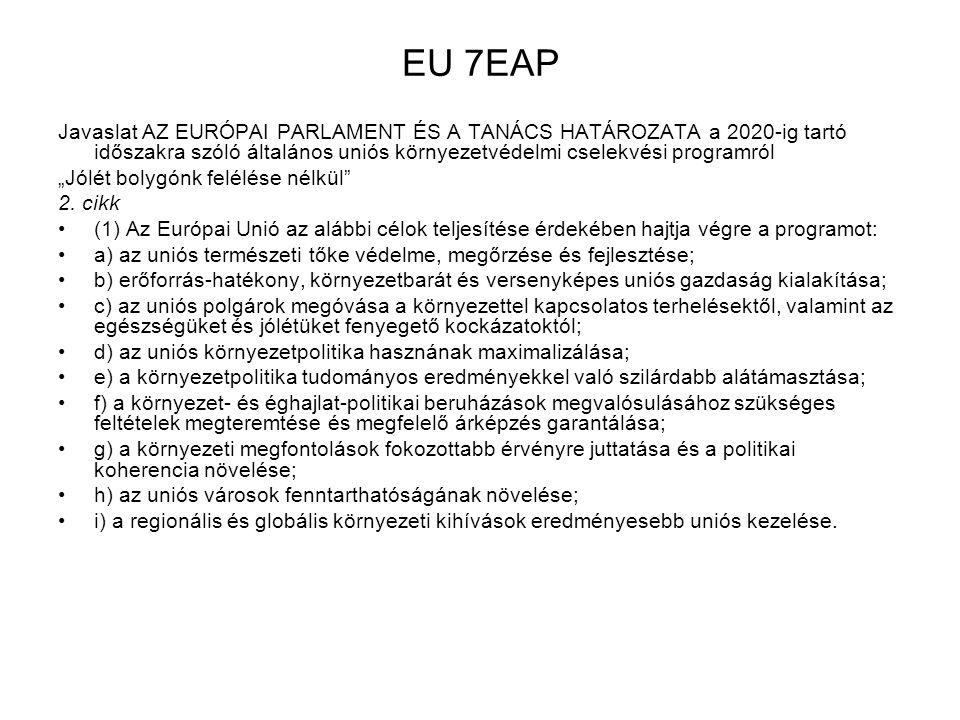EU 7EAP Javaslat AZ EURÓPAI PARLAMENT ÉS A TANÁCS HATÁROZATA a 2020-ig tartó időszakra szóló általános uniós környezetvédelmi cselekvési programról.