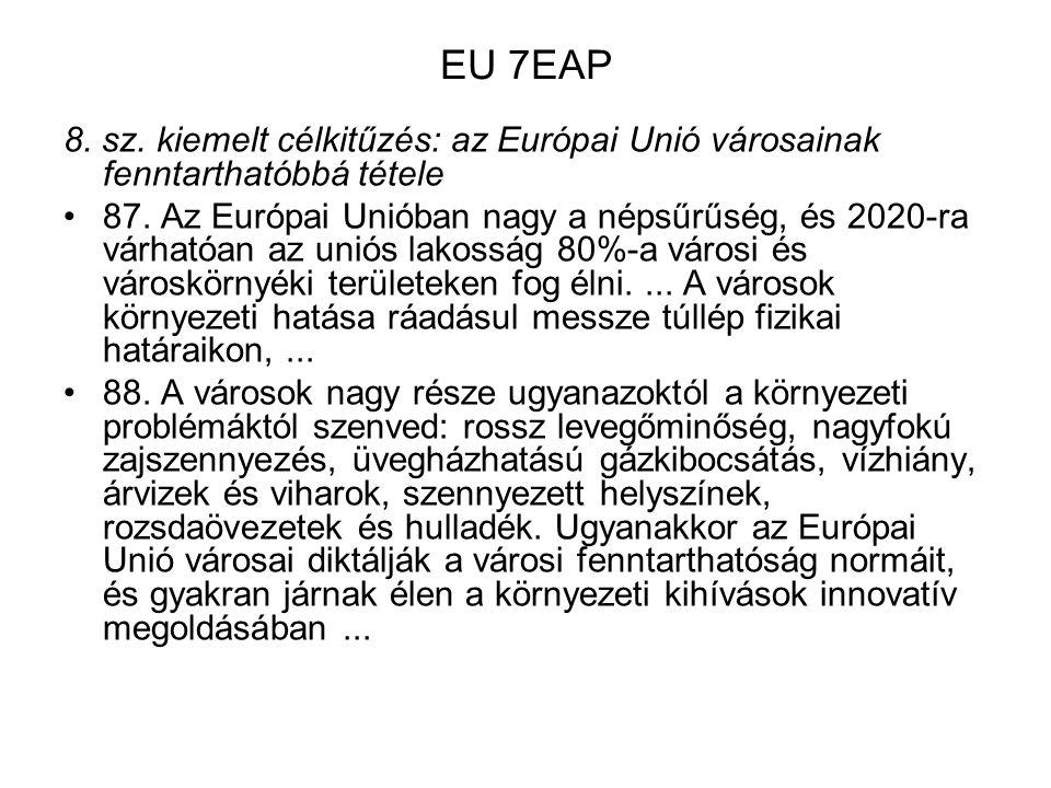 EU 7EAP 8. sz. kiemelt célkitűzés: az Európai Unió városainak fenntarthatóbbá tétele.
