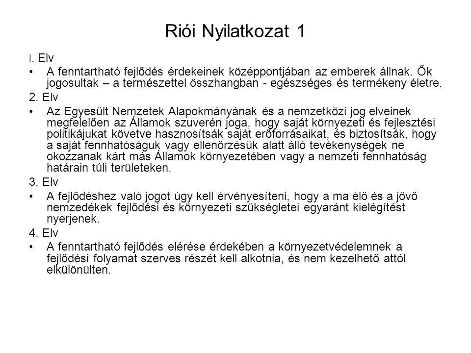 Riói Nyilatkozat 1 l. Elv.