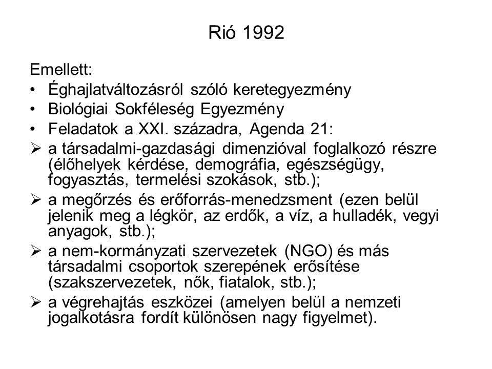 Rió 1992 Emellett: Éghajlatváltozásról szóló keretegyezmény