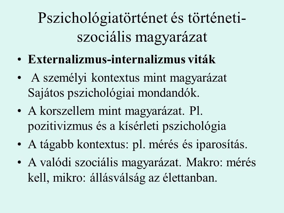 Pszichológiatörténet és történeti- szociális magyarázat