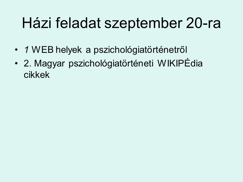 Házi feladat szeptember 20-ra