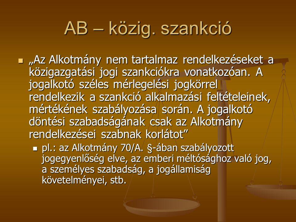 AB – közig. szankció