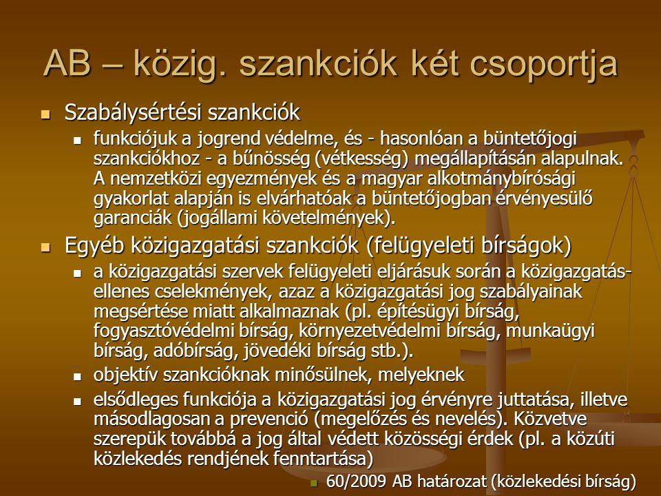 AB – közig. szankciók két csoportja