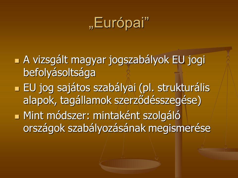 """""""Európai A vizsgált magyar jogszabályok EU jogi befolyásoltsága"""