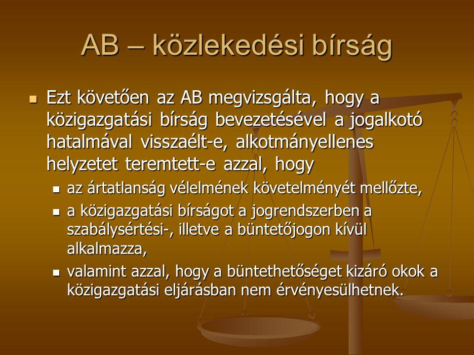 AB – közlekedési bírság