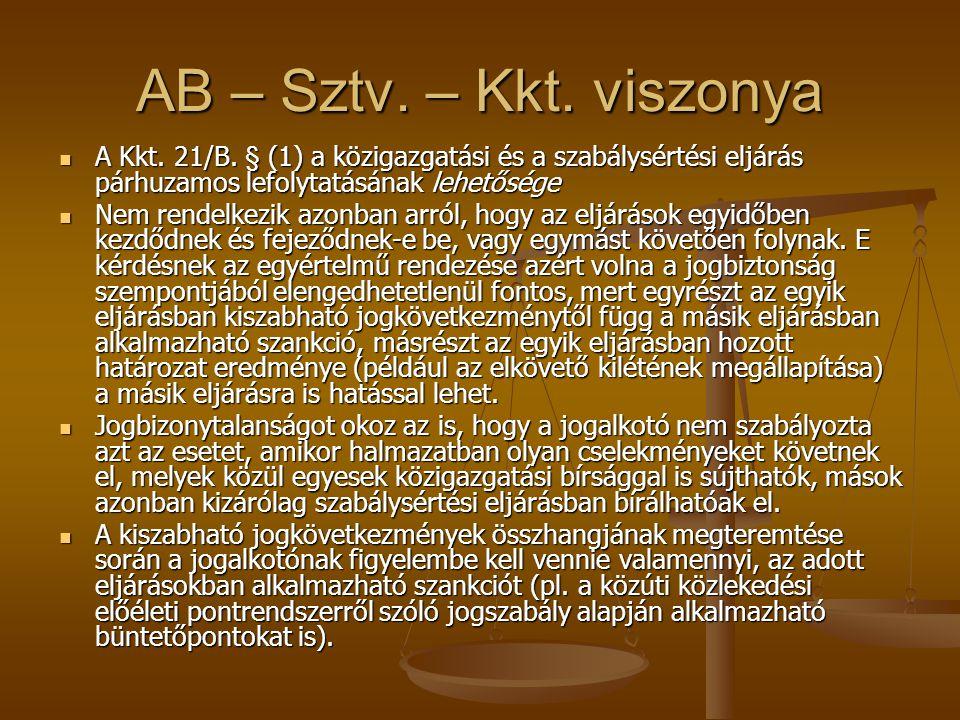 AB – Sztv. – Kkt. viszonya A Kkt. 21/B. § (1) a közigazgatási és a szabálysértési eljárás párhuzamos lefolytatásának lehetősége.
