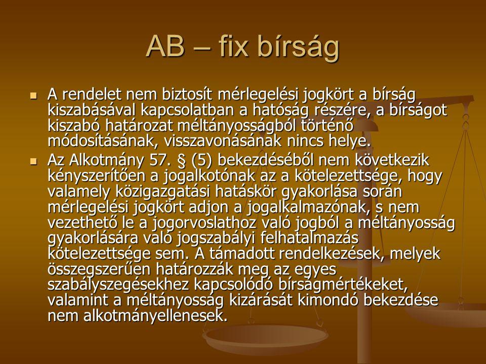 AB – fix bírság
