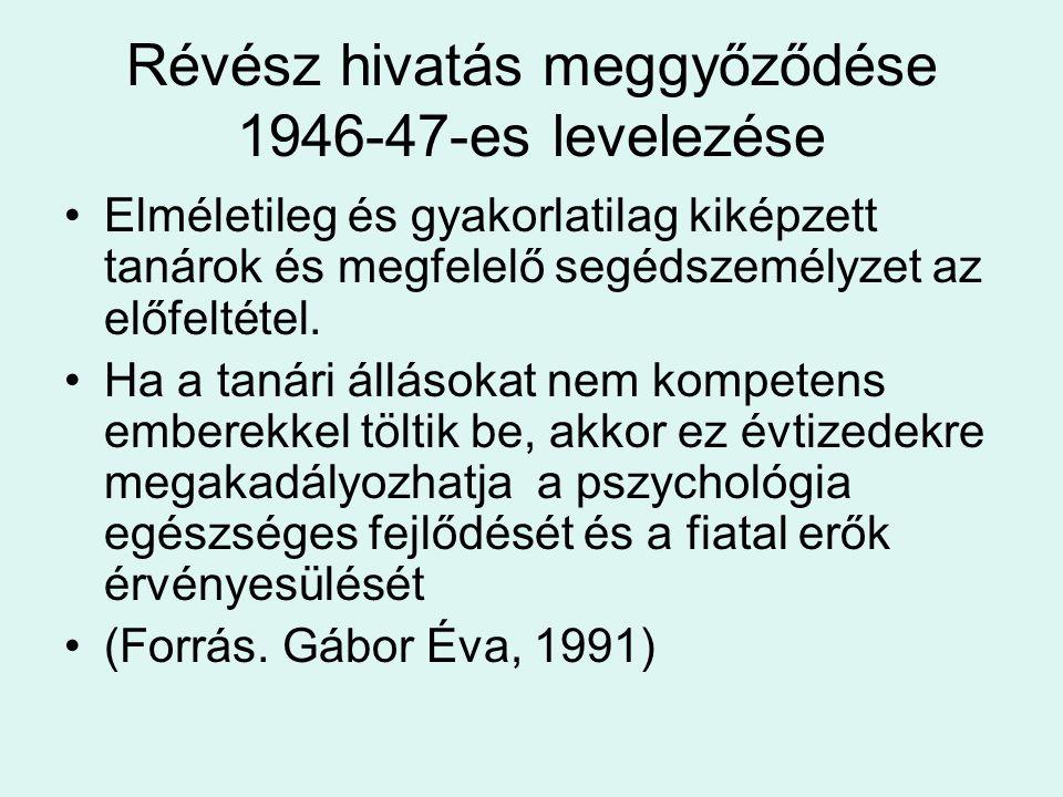 Révész hivatás meggyőződése 1946-47-es levelezése