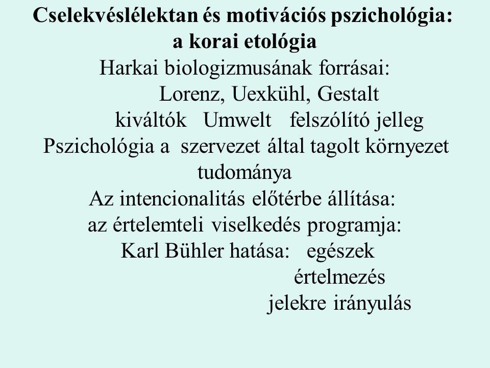Cselekvéslélektan és motivációs pszichológia: