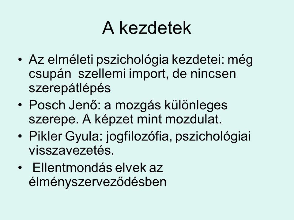 A kezdetek Az elméleti pszichológia kezdetei: még csupán szellemi import, de nincsen szerepátlépés.