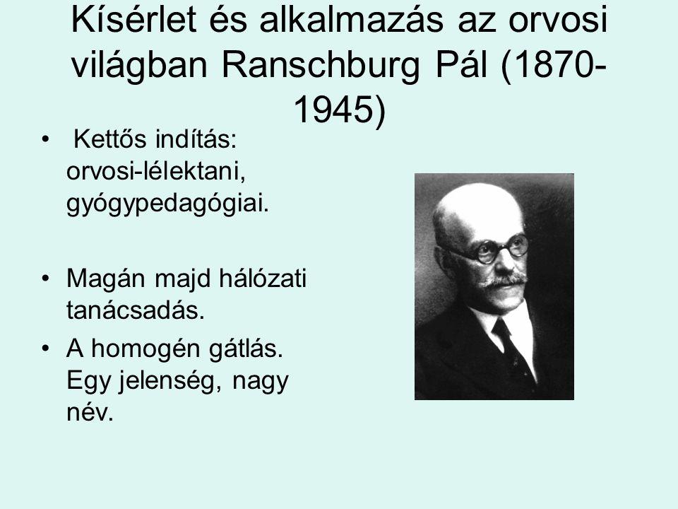 Kísérlet és alkalmazás az orvosi világban Ranschburg Pál (1870-1945)
