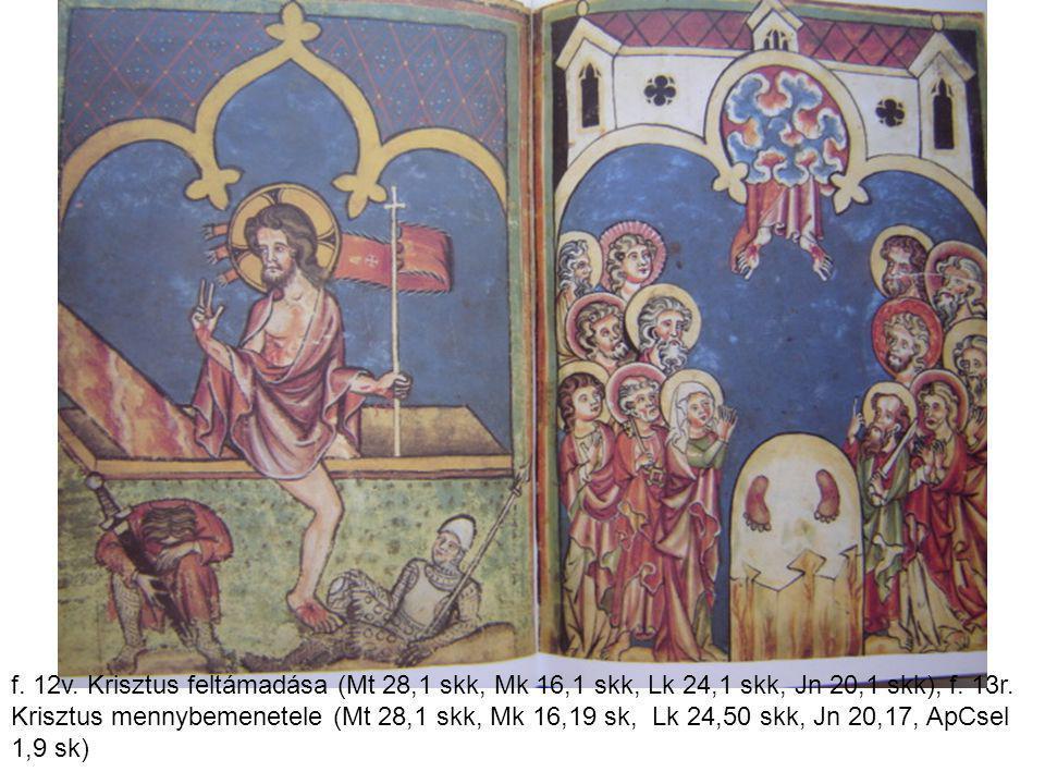 f. 12v. Krisztus feltámadása (Mt 28,1 skk, Mk 16,1 skk, Lk 24,1 skk, Jn 20,1 skk), f.