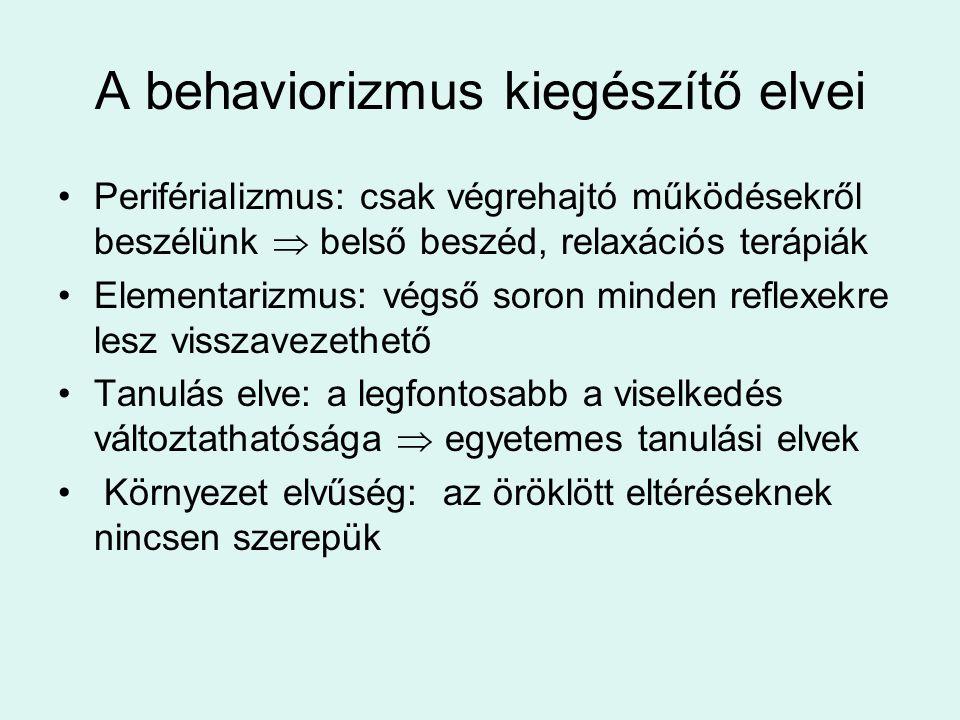 A behaviorizmus kiegészítő elvei